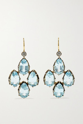 Fred Leighton Collection Silver-topped 18-karat Gold, Topaz And Diamond Earrings - one size
