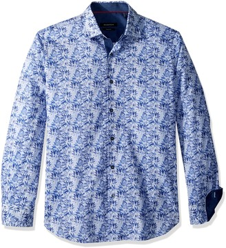 Bugatchi Men's Fitted Long Sleeve Printed Blue Sativa Pattern Cotton Shirt