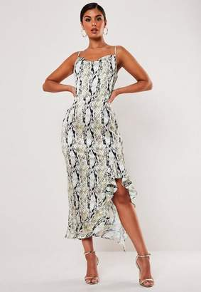 Missguided Snake Print Cami Ruffle Midi Dress