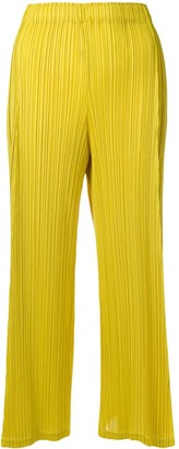 Pleats Please Issey Miyake Two-Tone Cropped Trousers
