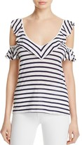 Splendid Stripe Cold Shoulder Ruffle Top