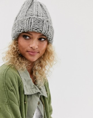 ASOS DESIGN chunky knit beanie hat in gray