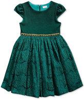 Sweet Heart Rose Glitter-Lace Cap-Sleeve Party Dress, Little Girls (4-6X)
