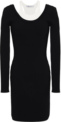 Alexander Wang Paneled Ribbed-knit Mini Dress