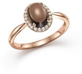 Bloomingdale's Smokey Topaz Cabochon and Diamond Oval Ring in 14K Rose Gold
