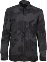 Neil Barrett Dark Navy Camo Patchwork Shirt