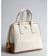 Prada white leather logo top handle bowler bag