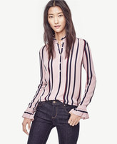 Ann Taylor Striped Ruffle Trim Popover