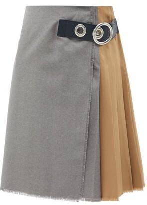 Marni - Asymmetric Pleated Wool-hopsack Skirt - Beige Multi