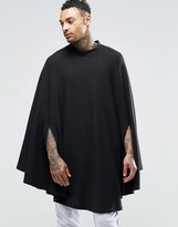 Asos Loungewear Cape In Waffle Fabric With Funnel Neck
