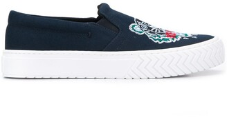 Kenzo Tiger-Embroidered Slip-On Trainers