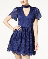 Trixxi Juniors' Gigi Scalloped Lace Skater Dress