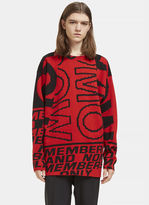 Stella Mccartney Men's Graphic Intarsia Crew Neck Sweater In Red And Black