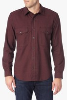 7 For All Mankind Long Sleeve Flap Pocket Shirt In Burgundy