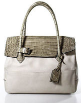 Reed Krakoff Beige Leather Crocodile Trim Large Satchel Handbag