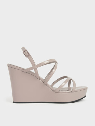 Charles & Keith Patent Strappy Platform Wedges