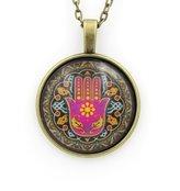 GBC Stunning - Domed Art Hamsa Necklace - Evil Eye - Luck - Hand Fatima - Minimalist Jewelery Bridesmaid Gifts - gold toned turquoise