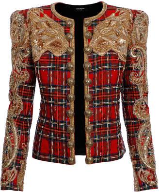 Balmain Hand Embroidered Tartan Wool-Blend Jacket