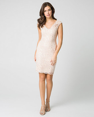 Le Château Lace & Sequin V-Neck Shift Dress