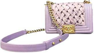 Chanel Boy Purple Leather Handbags