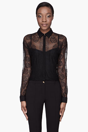 Versace Black Lace mesh Blouse