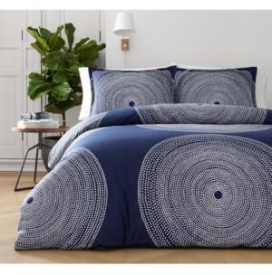 Marimekko Fokus Navy Cotton 3-Pc. King Duvet Cover Set Bedding