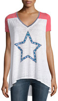 Chaser Raglan Tee with Star Graphic, White/Red