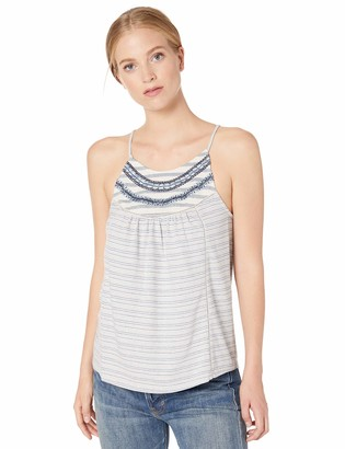 Lucky Brand Women's Mixed Stripe Embroidered Tank TOP