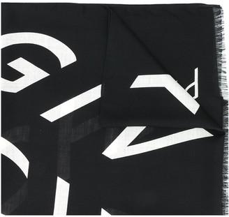 Givenchy Logo-Print Frayed-Edge Scarf