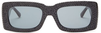 Linda Farrow X The Attico Stella Rectangle Acetate Sunglasses - Womens - Black