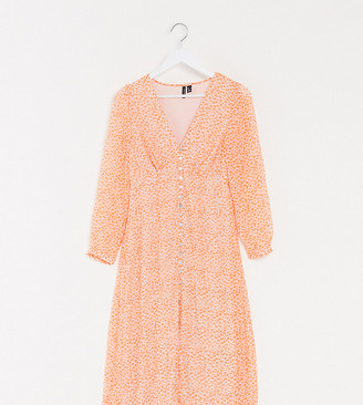 Vero Moda Tall tea dress with button detail in orange ditsy floral