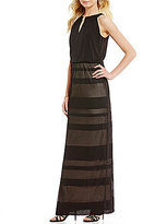London Times Birdseye Jacquard Keyhole Neck Maxi Dress