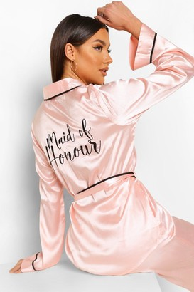 boohoo Matching Maid Of Honour Embroidered Satin dressing gown