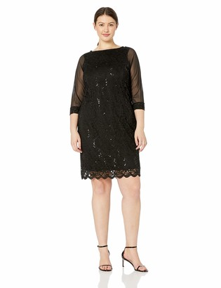 Tiana B T I A N A B. Women's Plus Size 3/4 Sleeve Sequence LACE Dress with Scalloped Hem