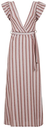 Linzi Pucci Metallic Stripe Plunge Maxi Dress
