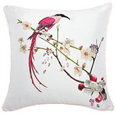 Ted Baker Flight of the Orient Bird-Embroidered Cherry Blossom Square Pillow