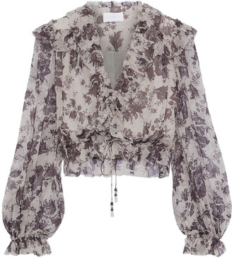 Zimmermann Juno Cropped Ruffled Floral-print Silk-georgette Blouse