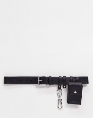 ASOS DESIGN purse detail waist and hip belt with dog clip detail in black