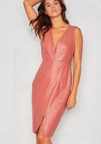 Missy Empire Pamela Salmon Faux Leather Pencil Dress