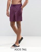 Asos TALL Swim Shorts In Purple Mid Length