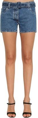 Prada Logo Print Belted Cotton Denim Shorts