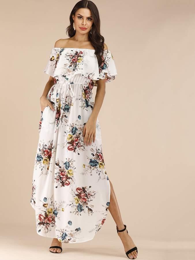 Shein Floral Print Drawstring Waist Off Shoulder Dress