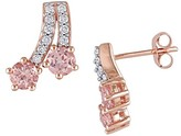 Allura 1.4 CT. T.W. Morganite and 1/5 CT. T.W. Diamond Flared Stud Earrings in 10K Pink Gold