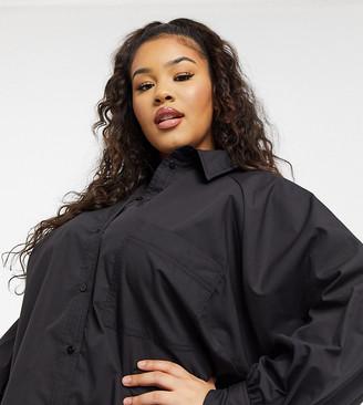 ASOS DESIGN Curve oversized boyfriend mini shirt dress in black