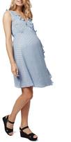 Topshop Ruffled Metallic Spot Wrap Dress (Maternity)