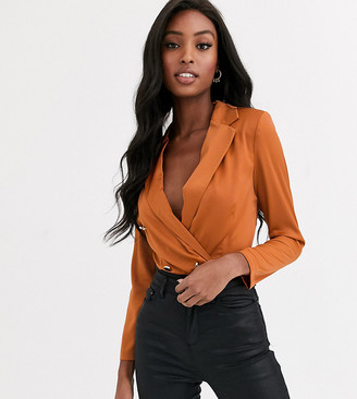 Paper Dolls Tall tailored blouse bodysuit with gold button detail in terracotta