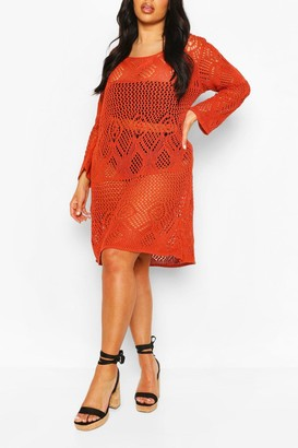 boohoo Plus Crochet Long Sleeve Beach Dress