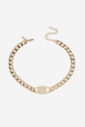 Topshop Lock Chain Choker Necklace