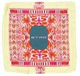 Etro Silk Logo Print Pocket Square