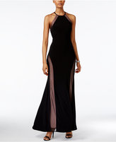 Night Way Nightway Petite Open-Back Illusion Halter Gown